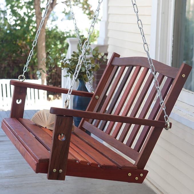Columpio en el porche Patio Premium columpios de madera al aire libre 2 persona banco muebles en 4 pies diseño de todo tipo de clima para colgar estilo: ...