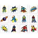 24 Temporary super hero tattoos children kids goody party pinatta fillers