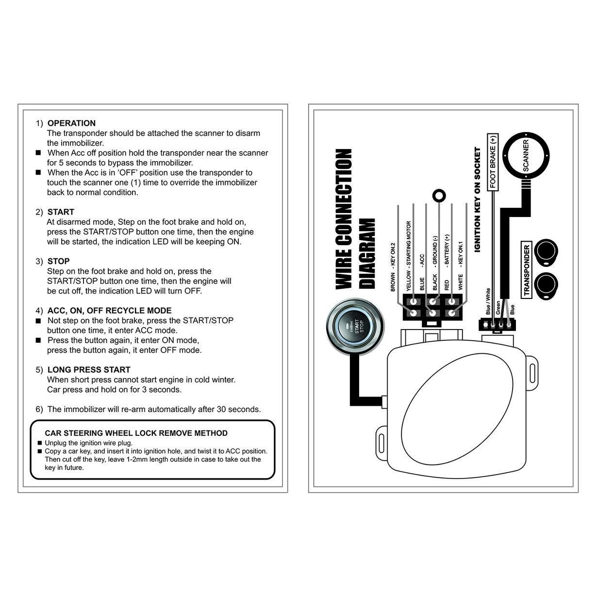 Uniqueheart Auto Alarm Motor Taster Start Stop Rfid Schloss Diagram Wire Sensor Cdp 2 Snow Zndschloss Keyless Entry System Starter Diebstahlsicherung