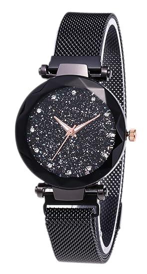 Actim Ver Imán Starry Surface Milan Mesh Belt Watch - Relojes para Hombres y Mujeres, Black: Amazon.es: Hogar
