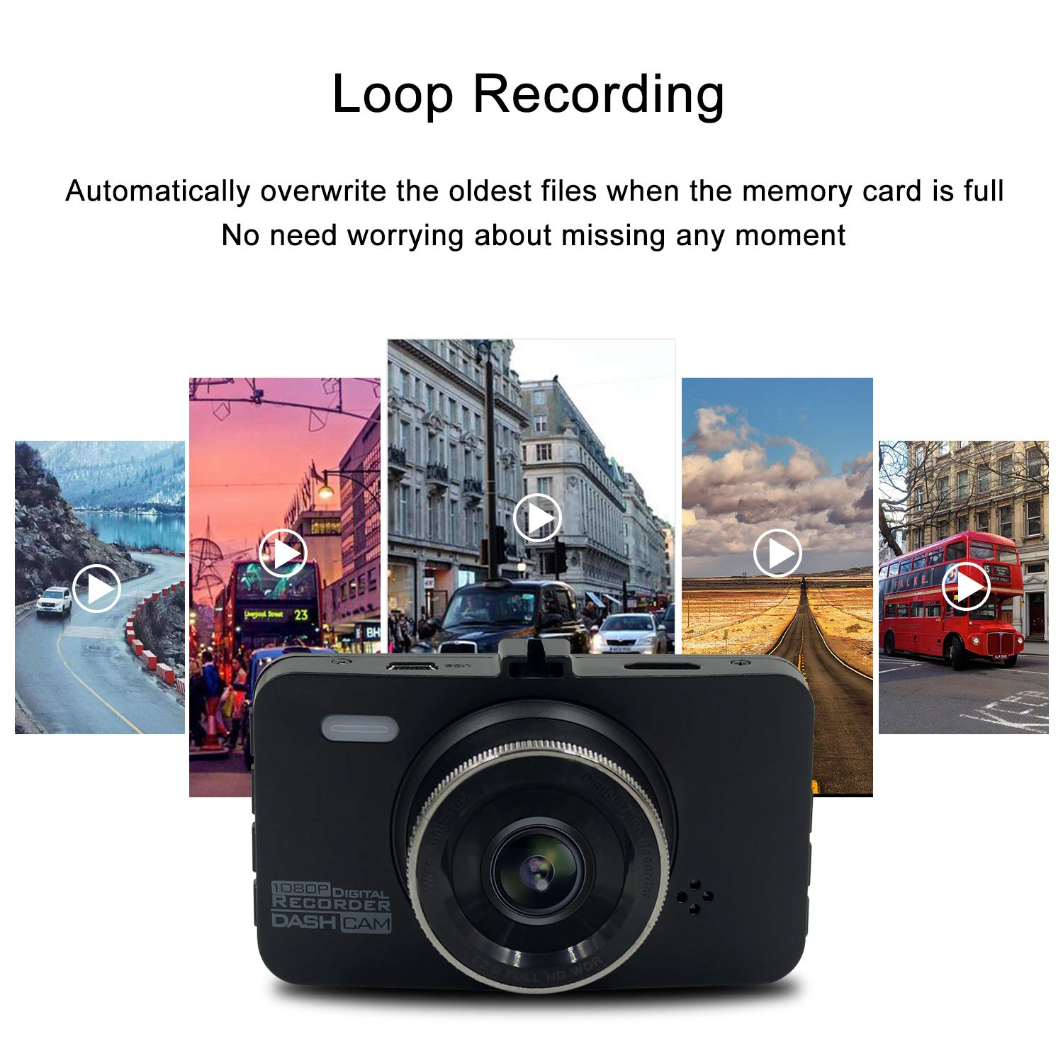 Motion Detection HDR Loop Recording Parking Monitor Newwings Dash Cam FHD 1080P Car DVR Driving Recorder Dashboard Camera with 3 LCD Screen Night Vision G-Sensor