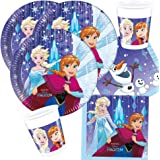 36-teiliges FESTA INSIEME Frozen La regina dei ghiacci - Fiocchi di neve - piatti tazza tovaglioli con ANNA ELSA E OLAF PER 8 Bambini NUOVO DESIGN 2017