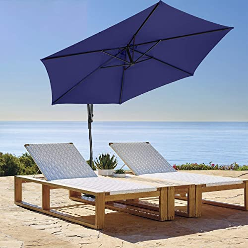 Ginelite 10Ft Offset Umbrella Hanging Umbrella Patio Umbrella SDP No Fading Canopy Anti-Break Structure Crank Poolside Umbrella