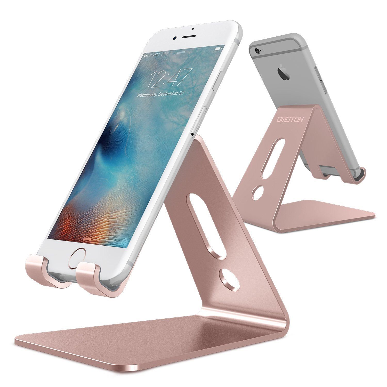 [Updated Solid Version] OMOTON Desktop Cell Phone Stand Tablet Stand,  Advanced 4mm Thickness Aluminum Stand Holder for Mobile Phone (All Size)  and Tablet ...