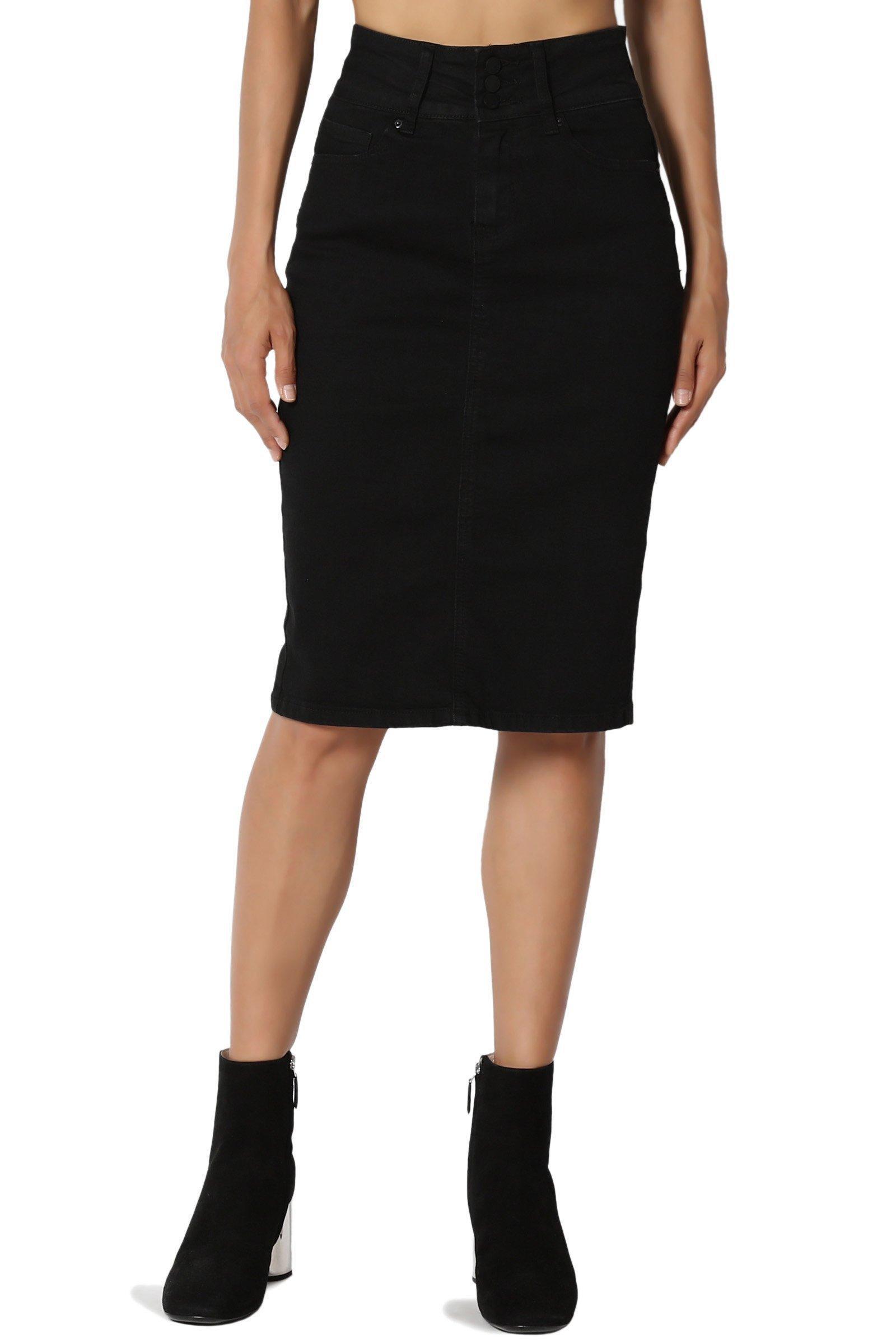 TheMogan Women's Butt Lift Indigo Pencil Knee Midi Stretch Denim Skirt Black L