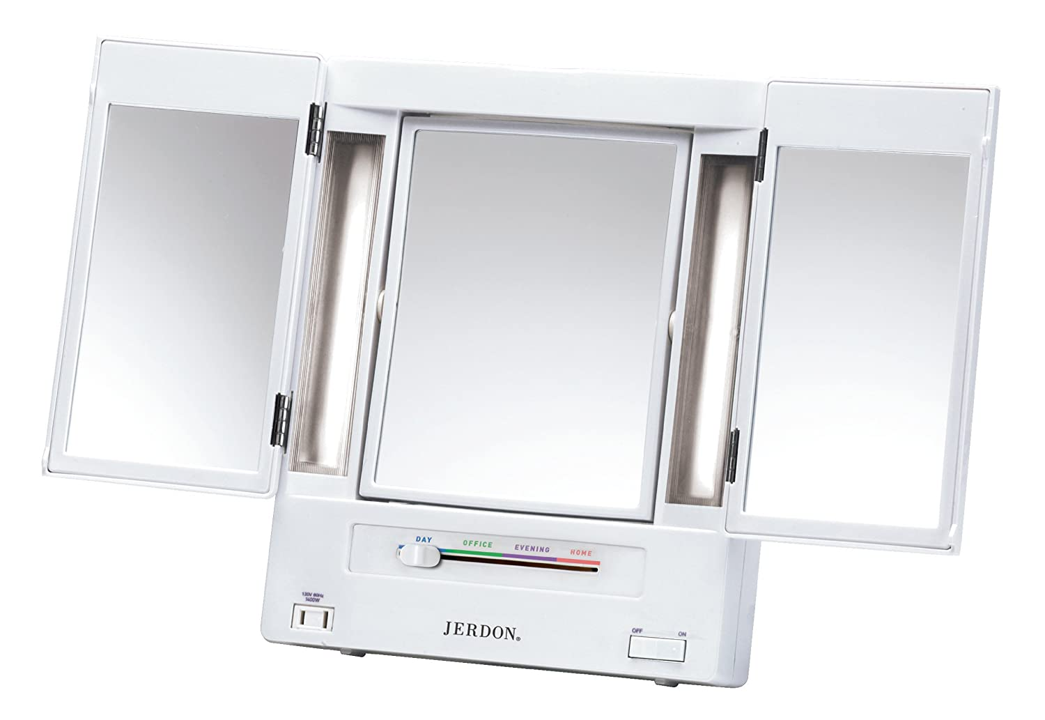 Jerdon Tri-Fold Two-Sided Lighted Makeup Mirror with 5x Magnification, White Finish