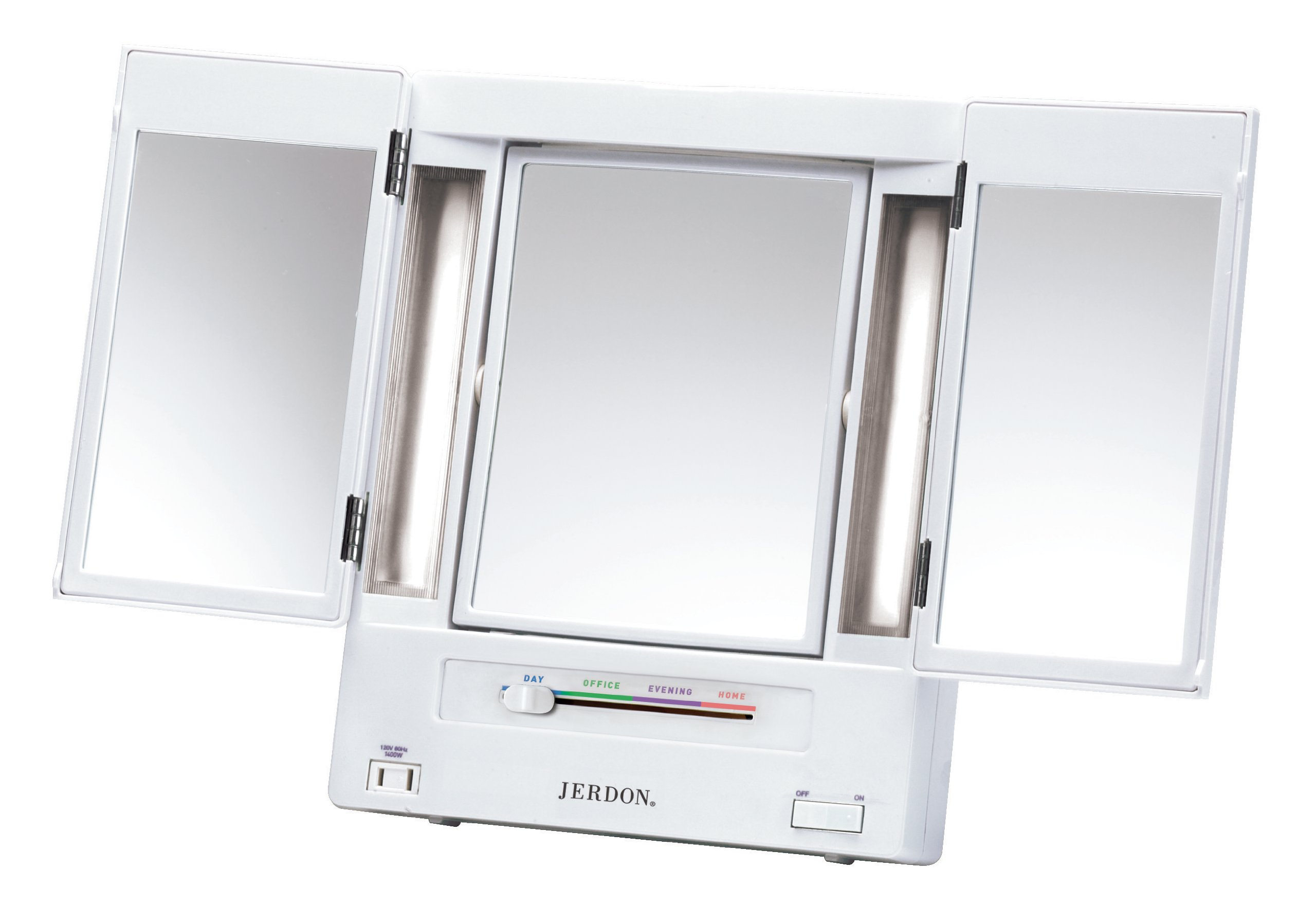Jerdon Tri-Fold Two-Sided Lighted Makeup Mirror with 5x Magnification, White Finish by Jerdon