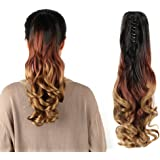"""Neverland Beauty 22"""" Claw on Triple Ombre Three Tone Synthetic Curly Wavy Ponytail Hair Extensions Brown Black to Sandy Red to Sandy Brown"""