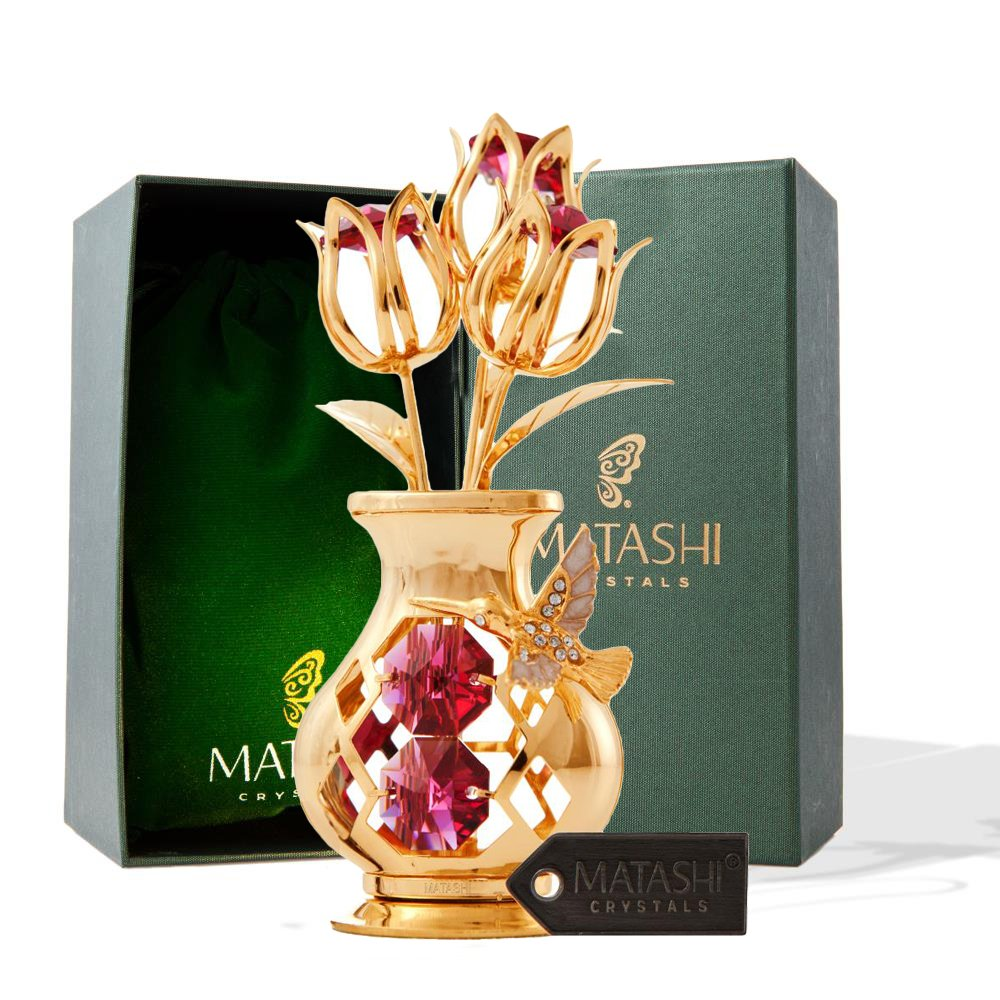 Mothers Day Gift – Crystal Studded Flowers in a Vase Ornament, Beautifully Crafted with 24K Gold, Red Crystals & Decorative Hummingbird - Mothers Gifts - Great Gift Idea for Mom by Matashi