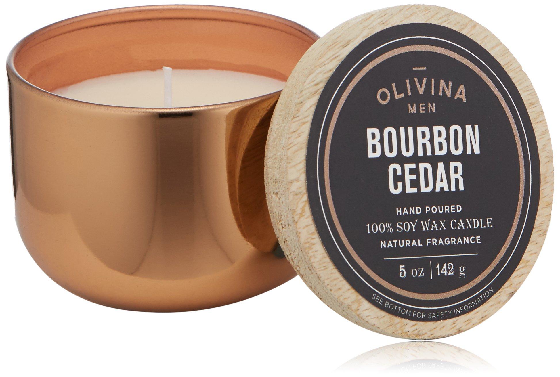 Olivina Men Soy Wax Candle Copper, Bourbon Cedar, 5 oz.