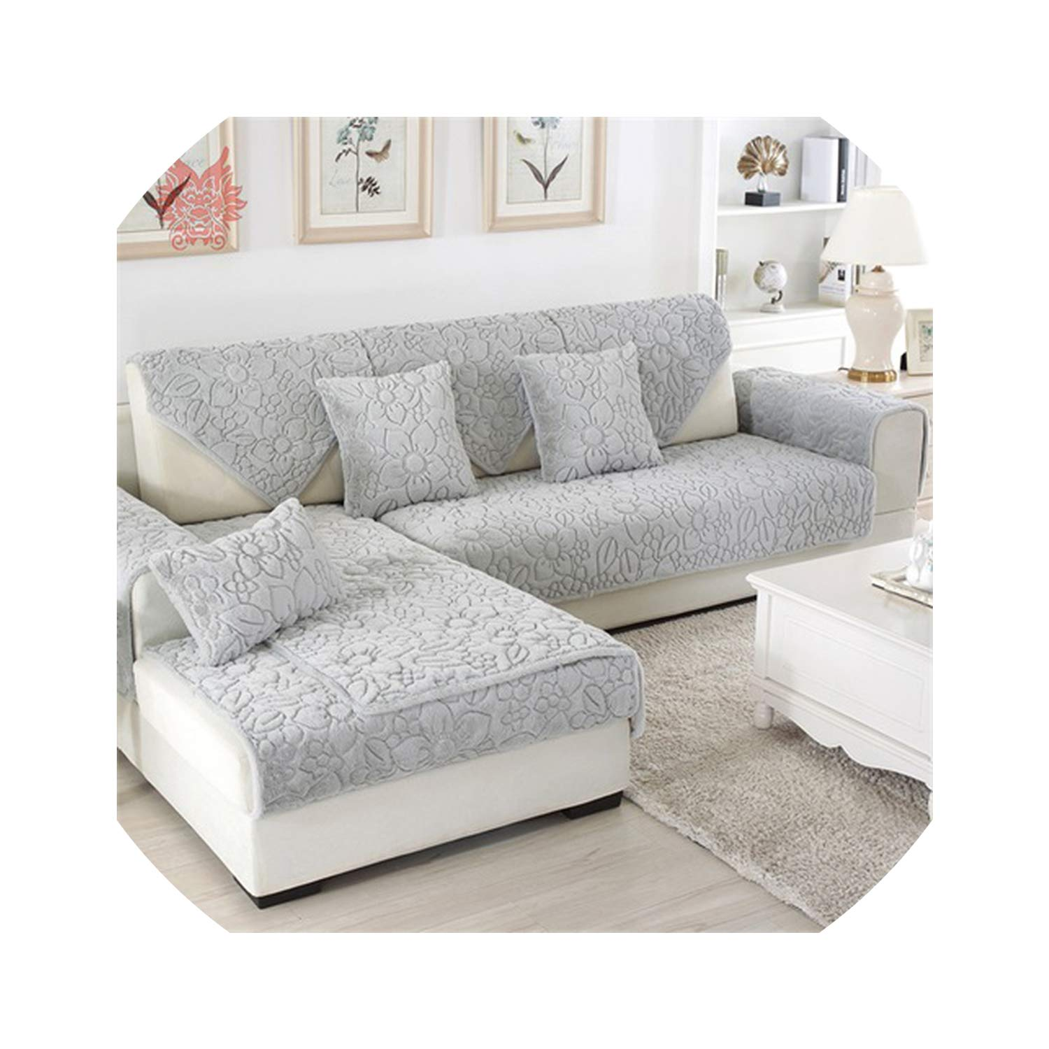 Amazon.com: White Grey Floral Quilted Sofa Cover Plush Long ...