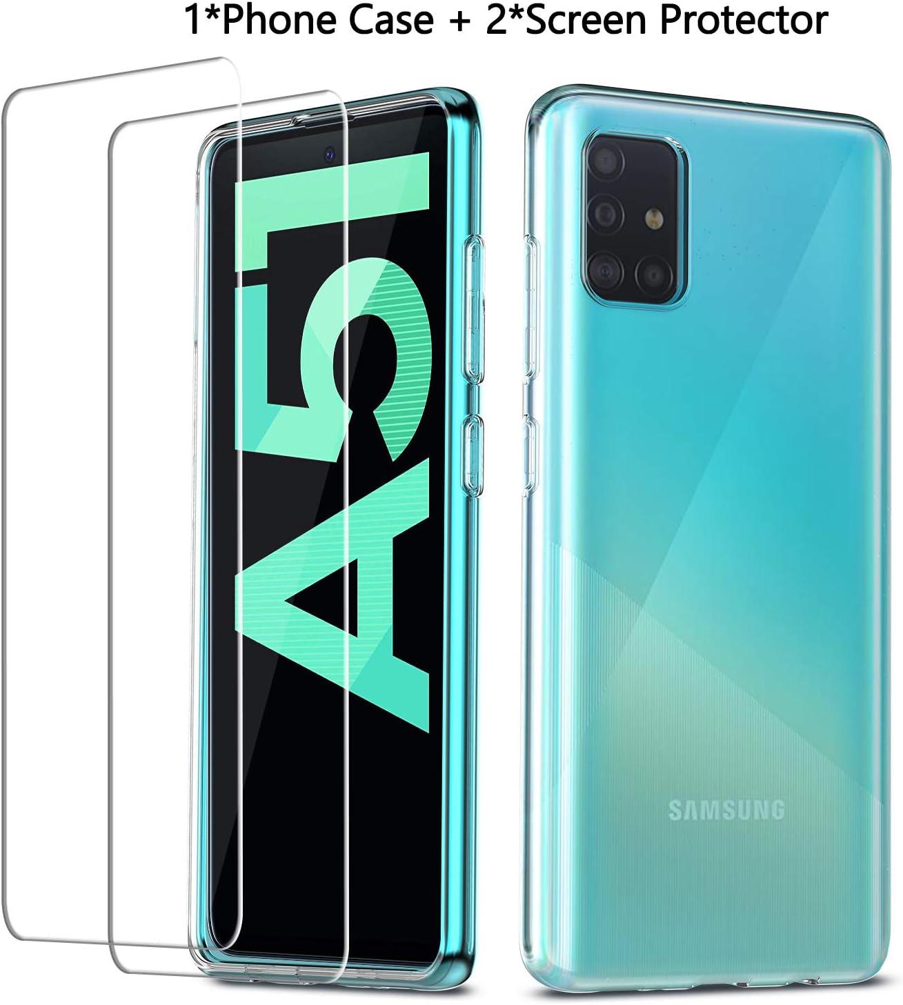 QHOHQ Funda Samsung Galaxy A51+2 Pack Cristal Templado Protector de Pantalla Samsung Galaxy A51, Ultra Fina Silicona Transparente TPU Cases Anti-caíd