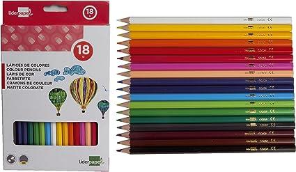 Liderpapel Lapices De Colores Caja De 18 Colores: Amazon.es ...