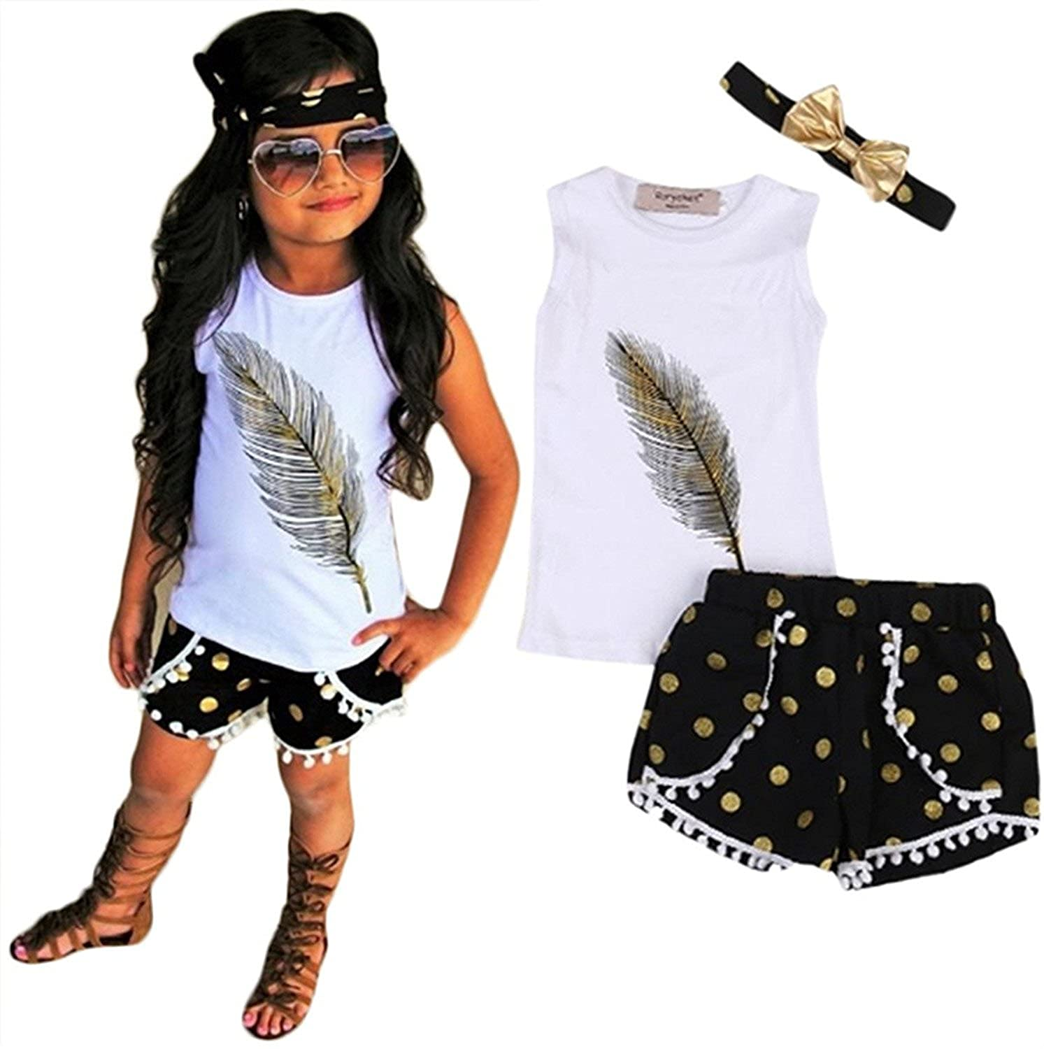 698cb170240e Amazon.com: Summer Kids Girls Feather Vest Tops + Polka dot Shorts Bottom  with Headband: Clothing