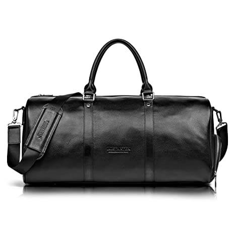 dd4983e977d1 BOSTANTEN Genuine Leather Travel Weekender Overnight Duffel Bag Gym Sports  Luggage Bags for Men Large Black