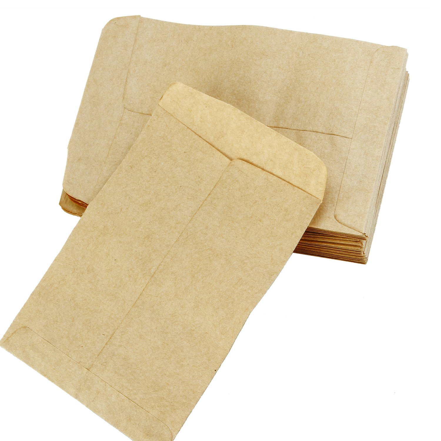 Aneco 200 Pieces Seed Envelopes Kraft Seed Paper Bags Mini Coin Packets Envelopes for Home and Garden Use 2 Size