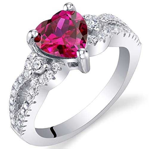 Sterling Silver Heart Soulmate Ring Sizes 5 to 9 in Various Gemstones