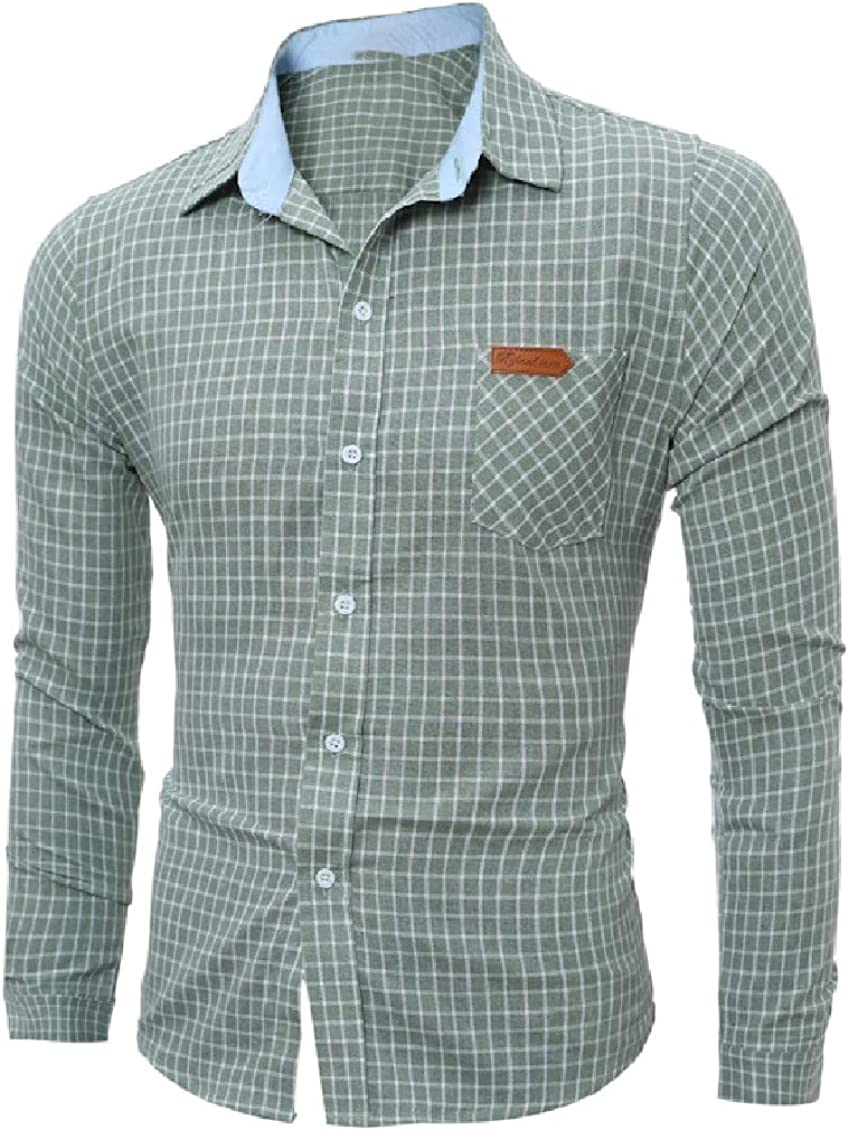 Coolred-Men Classics Small Plaid Britain Classics Tees Work Shirt