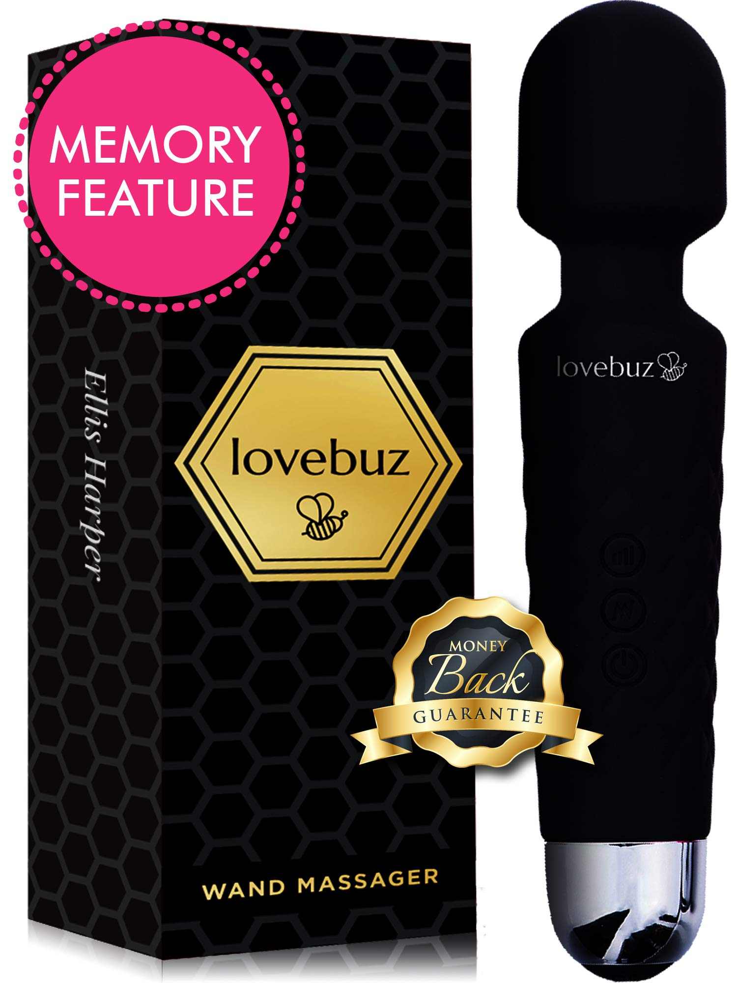 lovebuz 🐝 Personal Wand Massager with 20 Vibration Patterns and Flexible Head Quiet and Waterproof Cordless Handheld Personal Body Massager with Velvet Bag for Sore Muscles and Aches