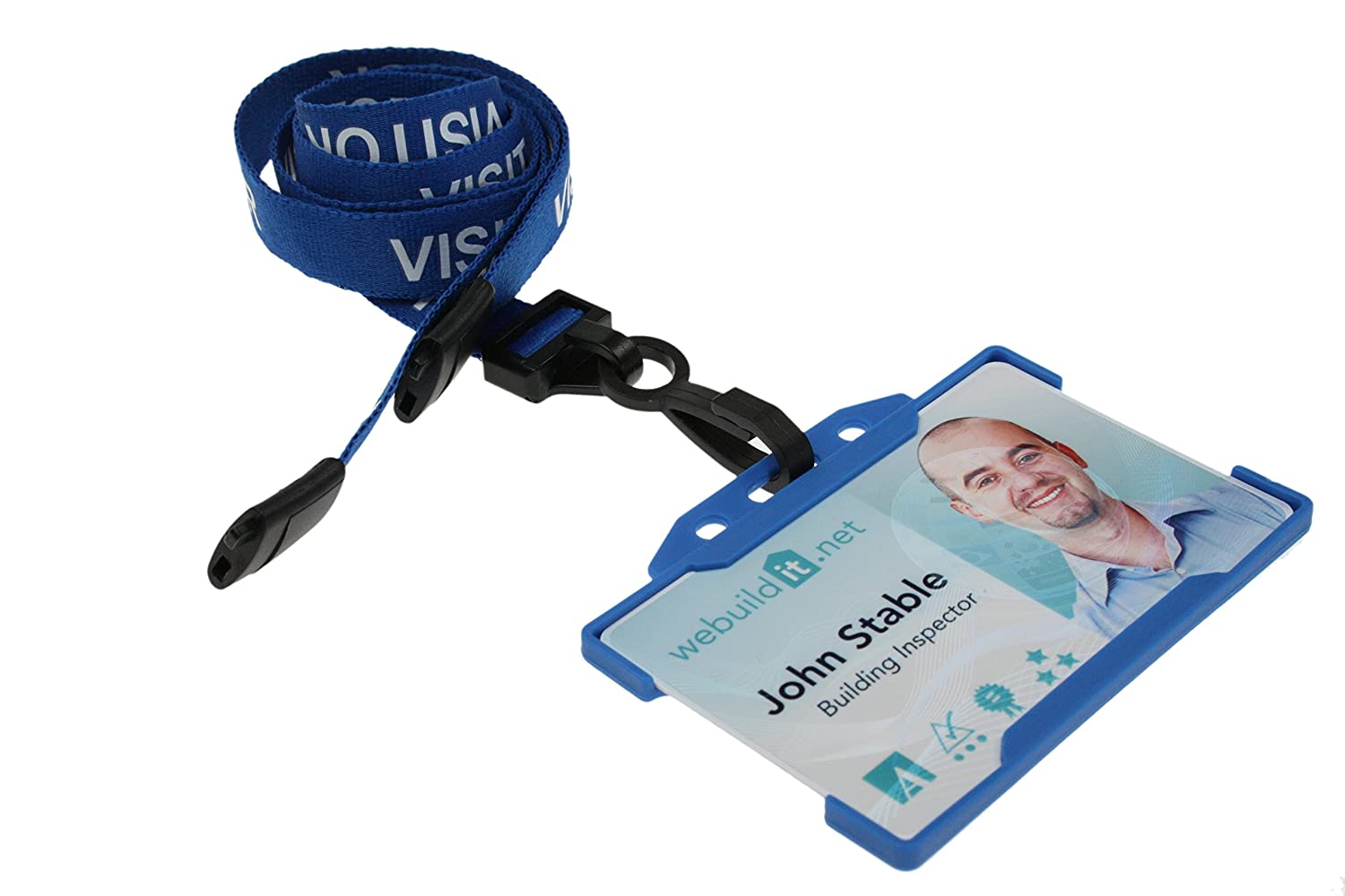 Kestronics/® Blue Visitor 15mm Lanyard with Safety Breakaway DOUBLE SIDED cardholder