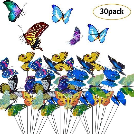 BETOY 30 pcs Estacas de Mariposas Jardín Colorido Mariposas ...