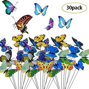 BETOY 30 pcs Estacas de Mariposas Jardín Colorido Mariposas Adornos para Patio Fiesta de Planta - Diseño de Hada del jardín en Miniatura para decoración de jardín, Patio, Flores: Amazon.es: Hogar
