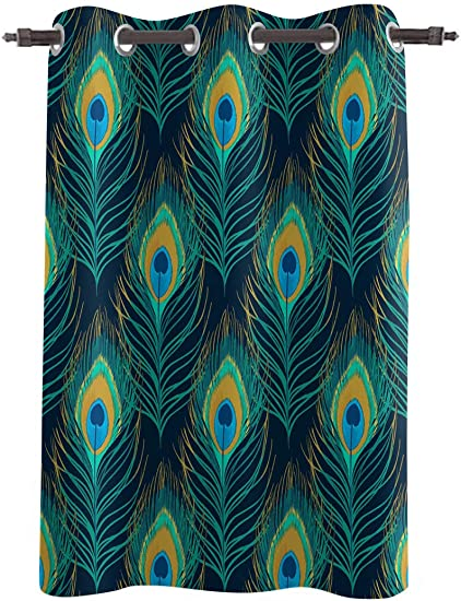 WARM TOUR Window Curtain Panel Peacock Feather Pattern Printing Decor Durable Drapes