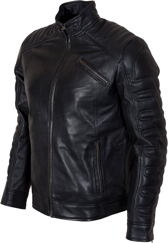 Mens Biker Slim Fitted Classic Retro Black Synthetic Leather Brando Biker Jacket