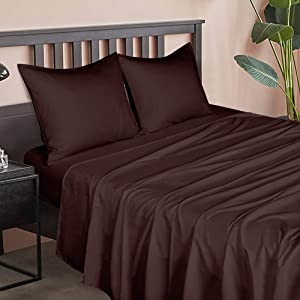 NTBAY Microfiber Queen Bed Sheet Set, 6 Piece Wrinkle, Fade, Stain Resistant Sheet and Pillowcase Sets with Deep Pocket, Chocolate
