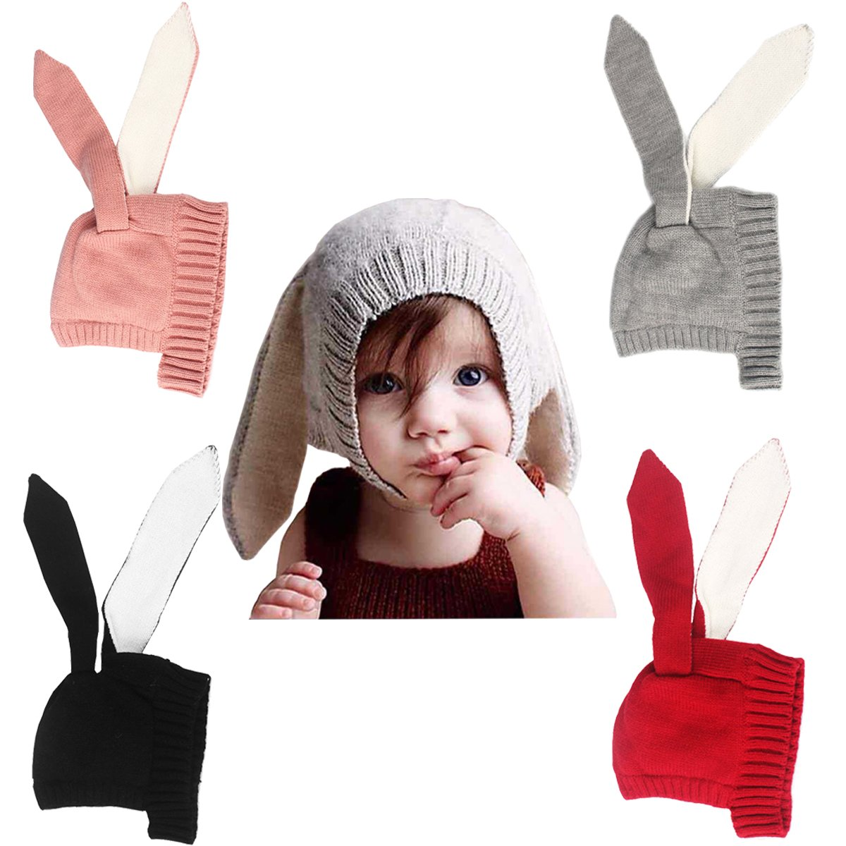 xsby Baby Kids Boy Girl Knitted Crochet Rabbit Ear Beanie Winter Warm Hat Cap Beanie hat for Girls