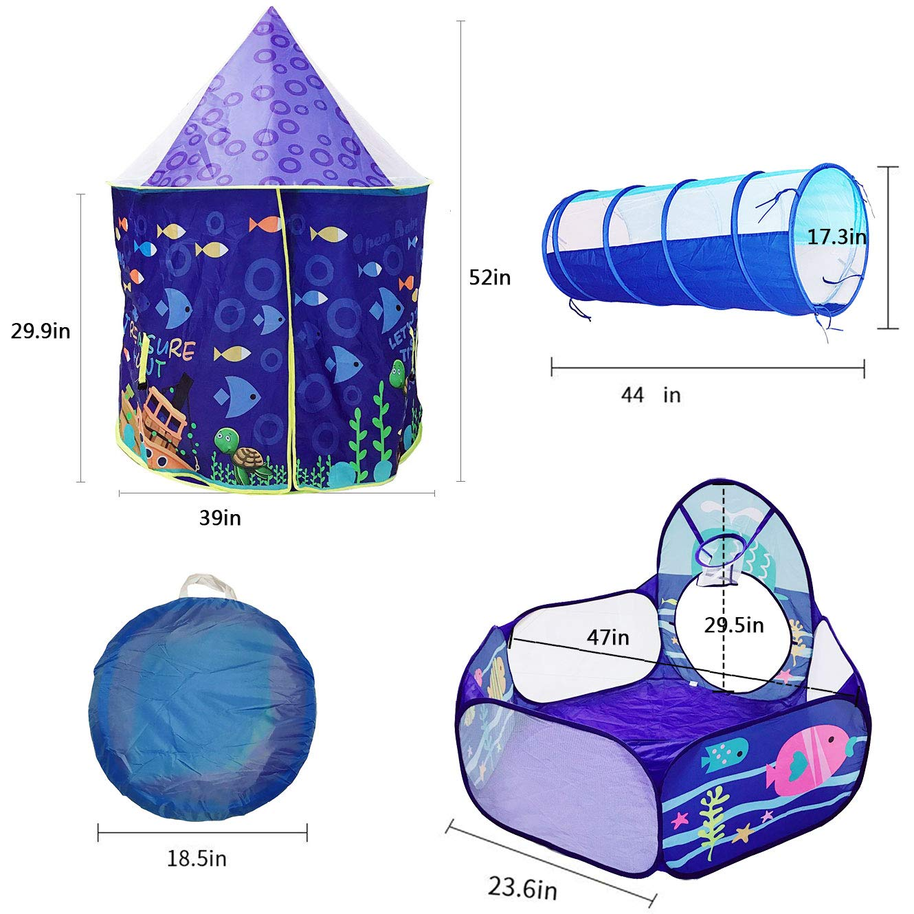 3pc Set ,Crawl Tunnel,/& Ball Pit with Basketball Hoop Toys for Boys and Girls,Castle for Kids for Indoor and Outdoor Use LOJETON Ocean World Kids Play Tent
