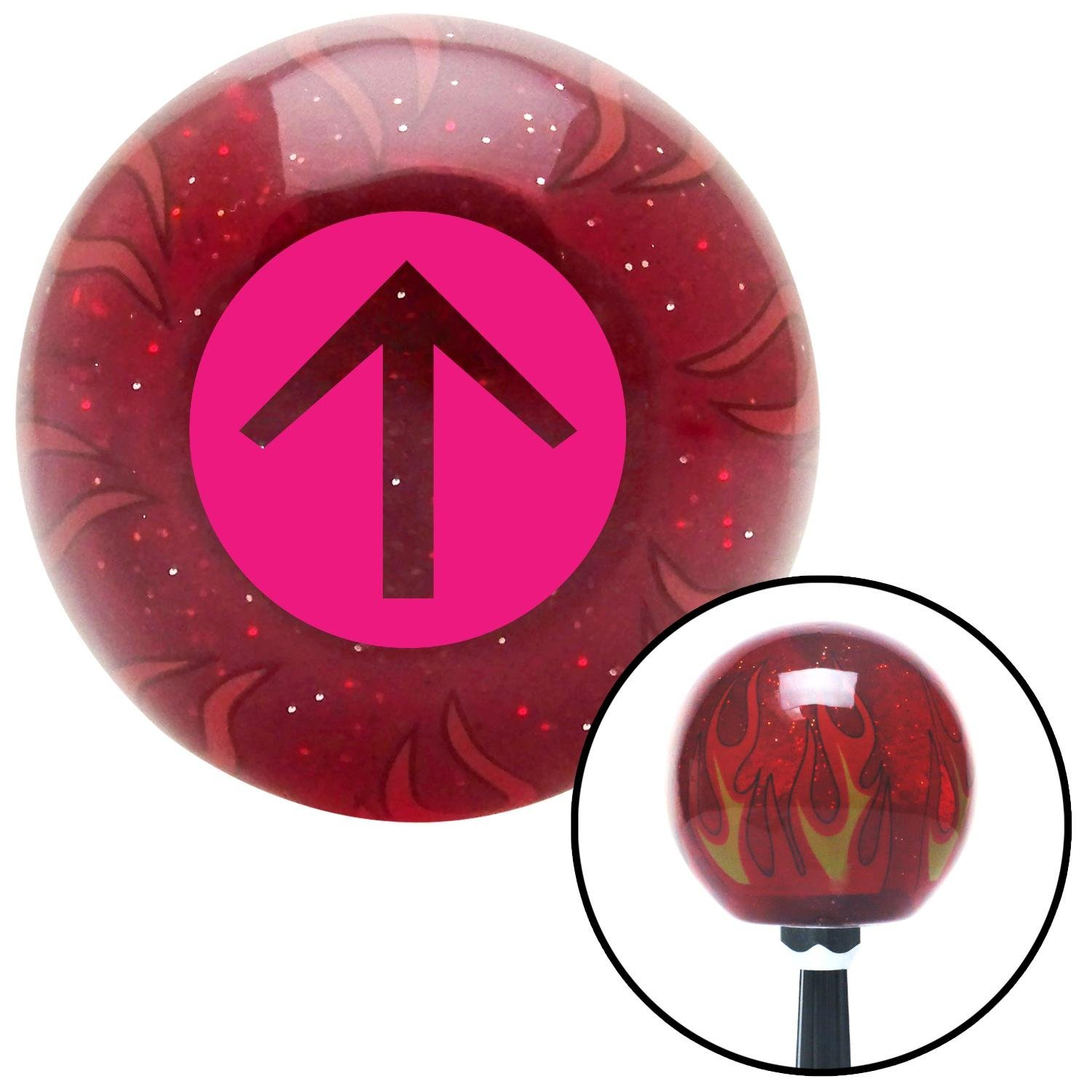 American Shifter 236137 Red Flame Metal Flake Shift Knob with M16 x 1.5 Insert Pink Circle Directional Arrow Up