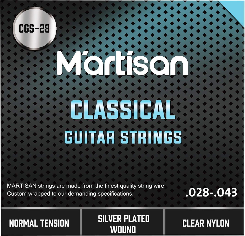 Martisan - Cuerdas para guitarra clásica de concierto (nailon, 6 unidades)