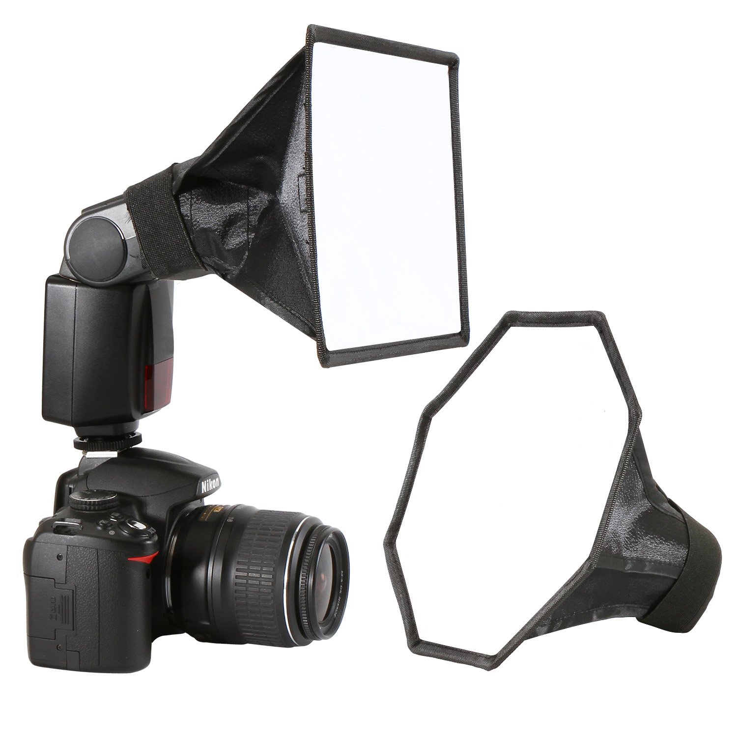 [UPGRADED] Flash Diffuser Softbox for Speedlight Kit (Universal, Collapsible with Storage Pouch) - 8''/20cm Octagon Softbox + 8''x6''/20x15cm Softbox Set for Canon, Yongnuo and Nikon Speedlight
