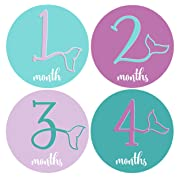 Mumsy Goose Month Stickers Baby Girl Milestone Stickers 1-12 Months Girl 1st Year Stickers Mermaid Bodysuit Stickers