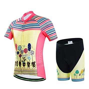 LSERVER Niños Maillot de Ciclismo Conjunto de Traje de Bicicleta Transpirable para Niños Ropa Deportiva de Secado Rápido, Amarillo + Rosa, 7-9 AÑOS