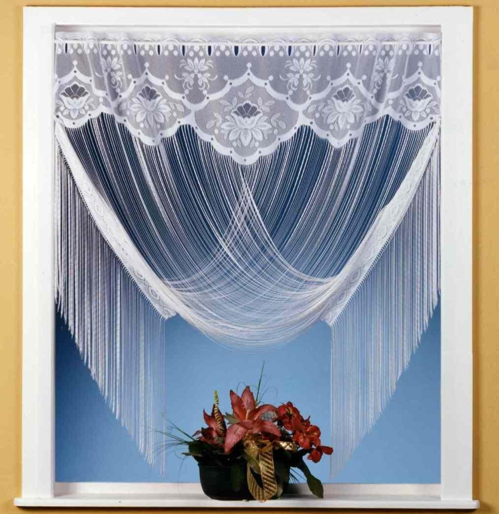 Tenda a fili tenda Jacquard Bianco con bordura a Fiori –può essere accorciata - utilizzabile come tenda dritta o drappeggio - facile da appendereTenda a fili Tipo 32., Tessuto, bianco, HxB 205x100 cm Heimtexland