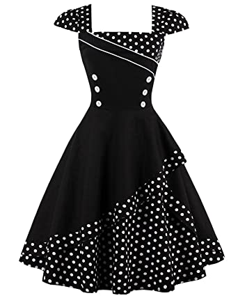 ZAFUL Women 50s Vintage Polka Dot Patchwork Pin up Cap Sleeve ...