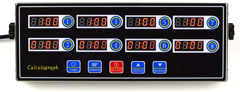 Li Bai Kitchen Restaurant Cooking Timer 8 Channels Commercial Home Digital Alarm Reminder Clock Loud Adjustable Clear LED Display Stainless Steel