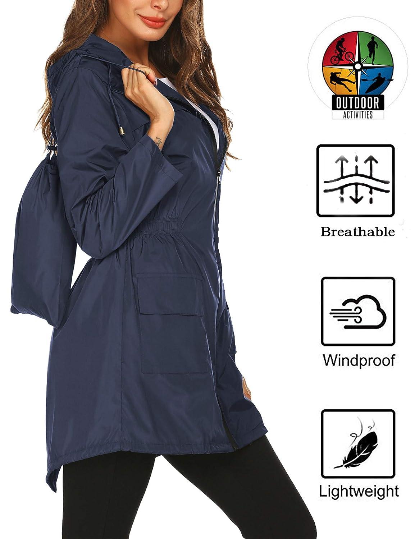 Doreyi Women rain Coats Waterproof Lightweight Summer Running Active rain Jacket Long