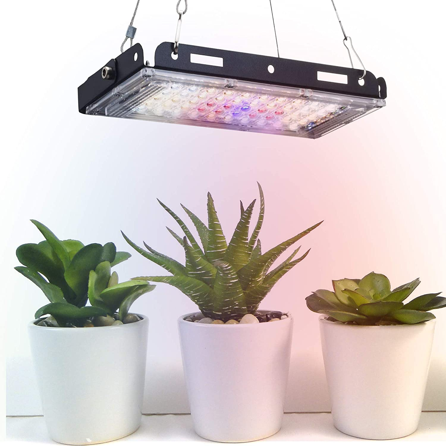 Aogled Grow Light,150W LED Grow Lights for Indoor Plants Full Spectrum with On/Off Switch,LED Growing Panel Lamp with Adjustable Grip for Micro Greens,Succulents,Seedlings,Flower,Fruit,Veg