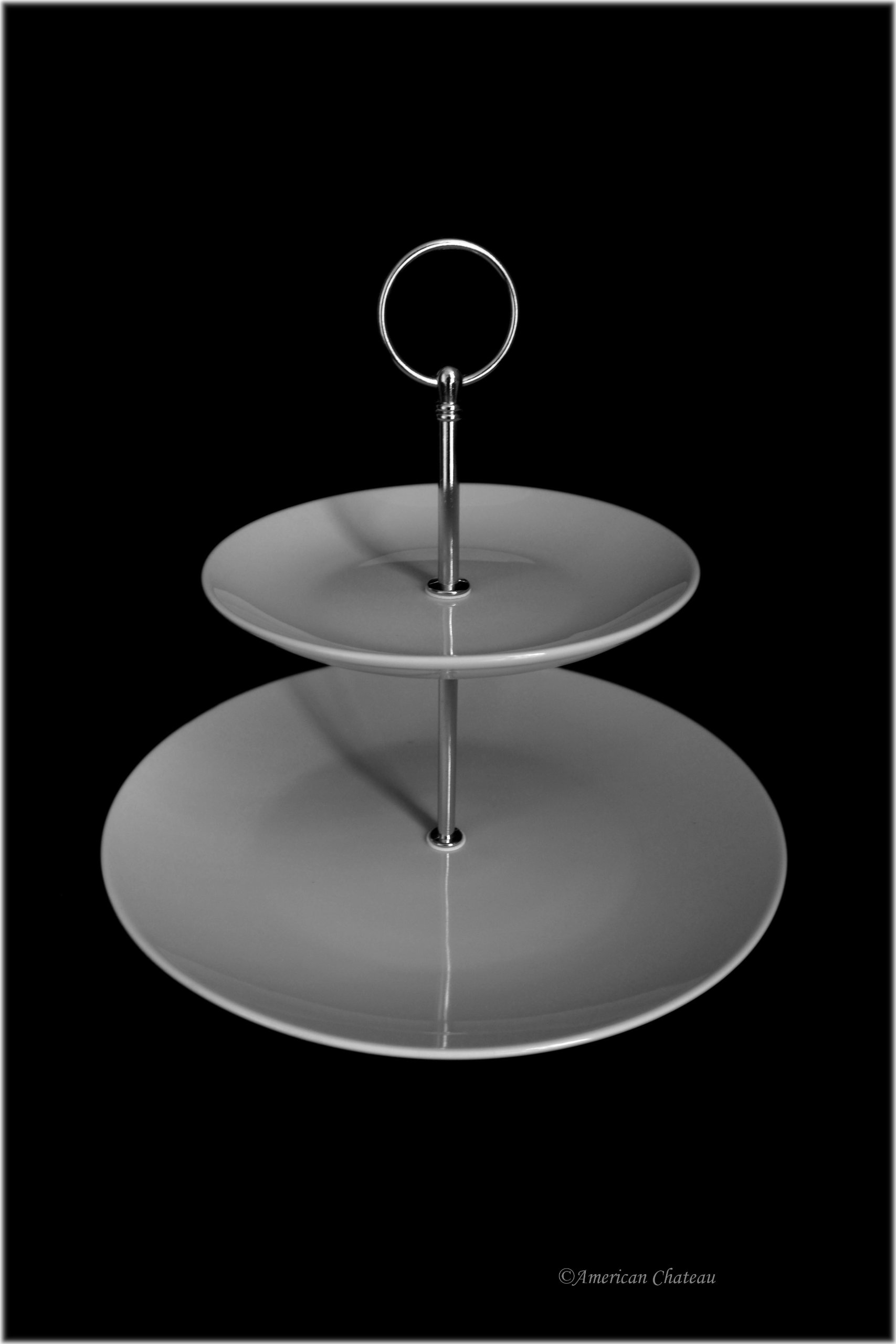 11'' Round 2-Tier Serving Tiered White Porcelain Dessert Plate Pastry Stand