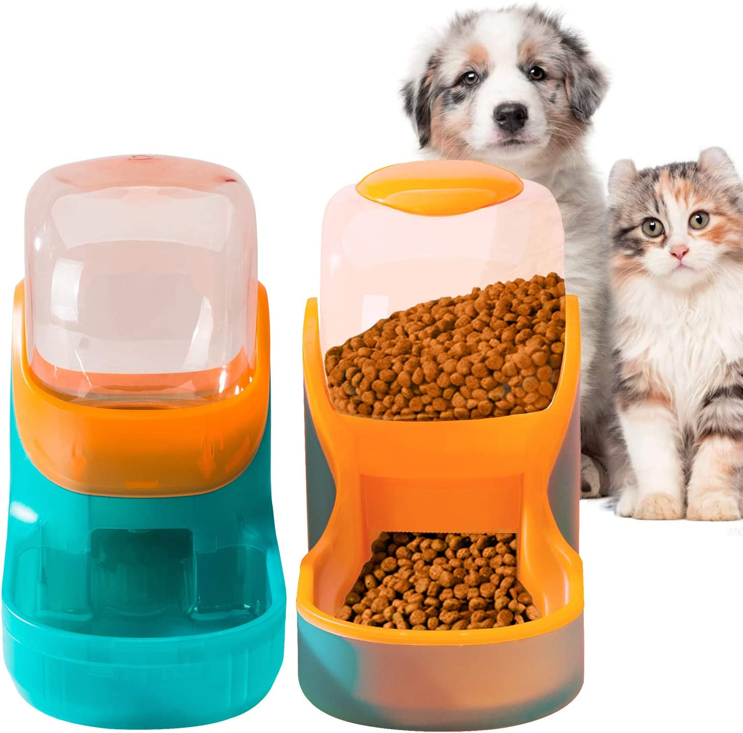 Pets Feeder Set Dog Feeder Cats Feeder with Water Dispenser Automatic Gravity Big Capacity Pets Feeder Auto for Small Medium Big Cats Dogs (Cyan+Orange)