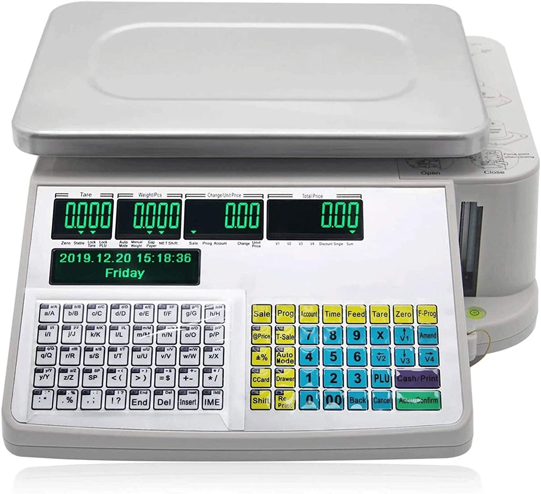 Código de Barras Pantalla Dual Visualización de Etiquetas Escala de Impresión Balanzas Comerciales Balanza Electrónica al por Menor (Size : 6kg)