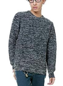 BestMart ミックスカラー ニット セーター クルーネック メンズ