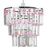 Abat Jour Moderne pour suspension. 3 anneaux de Cristaux Claires et Roses (acryliques) en cascade des cadres chromé