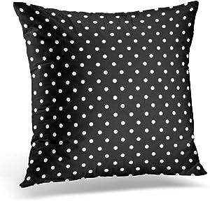antoipyns Throw Pillow Cover-Black Polkadots Polka Dots White Color Decorative Pillow Case Home Decor Square(18x18 Inch) Pillowcase