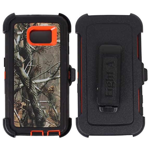 the latest 48639 8def1 Heavy Duty Full Body Protective Rugged with Clip-Built-in Screen Protector  Camouflage Case Cover for Samsung Galaxy S6 (Orange-Tree-Camo)