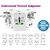 IONIX Universal Travel Adapter/Travel Adapter All in one 100-240V Surge/Spike Protected Electrical Plug (White)