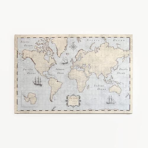 World Travel Map Pin Board - Rustic Vintage - Made in Ohio, USA!